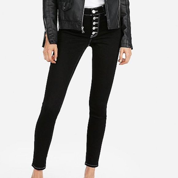 Express Stretch High Rise Button Fly Jean Leggings